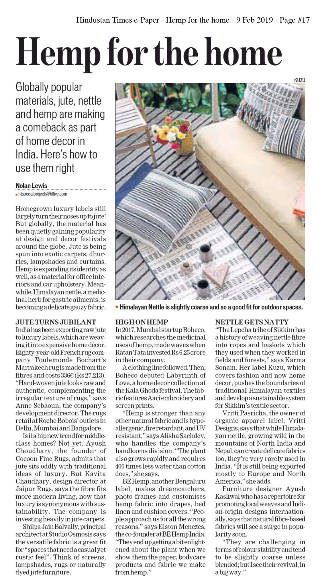 Hindustan Times – Hemp for the Home